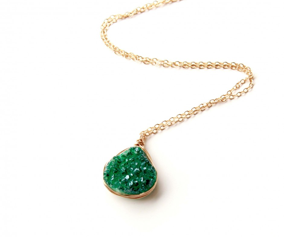 Emerald green druzy necklace gold filled everywhereur emerald green druzy necklace aloadofball Image collections