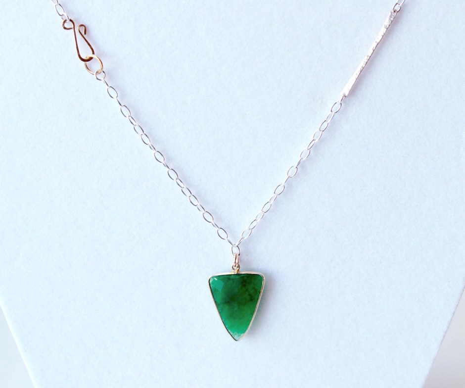 Emerald Necklace In Mixed Metal Triangle Emerald Pendant